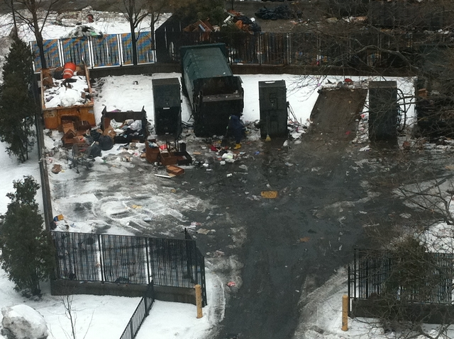 A photo of the NYCHA trash area prior to the clean-up.