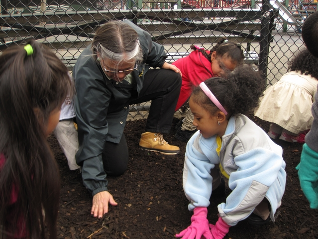 NYCHA Commisioner Margarita Lopez plants wildflowers with kids from Harlem RBI's Dream Charter School.