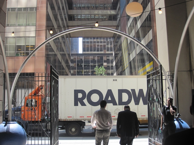 The entrances to the spaces are often blocked by trucks.