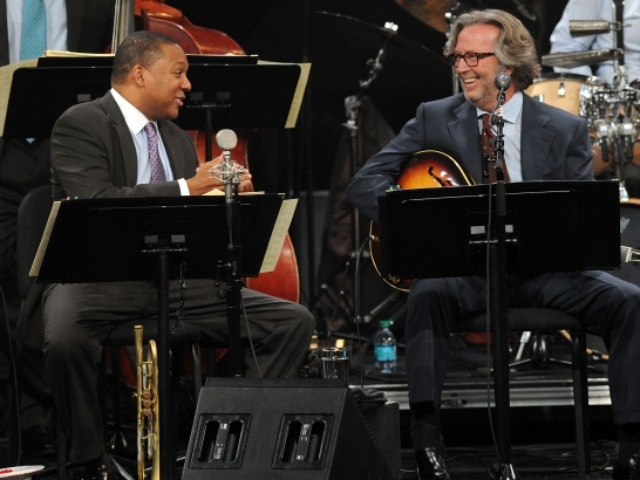 Music greats Wynton Marsalis and Eric Clapton performed together at Jazz at Lincoln Center.