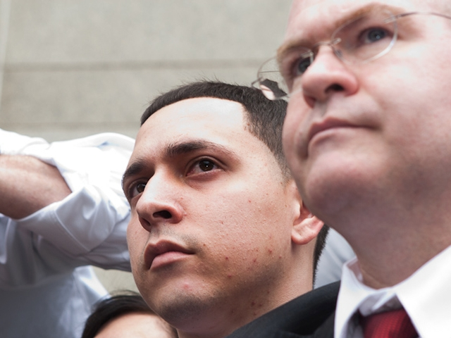 Franklin Mata (L) and his lawyer Edward Mandery (R) address reporters outside Manhattan Supreme Court, May 26, 2011.