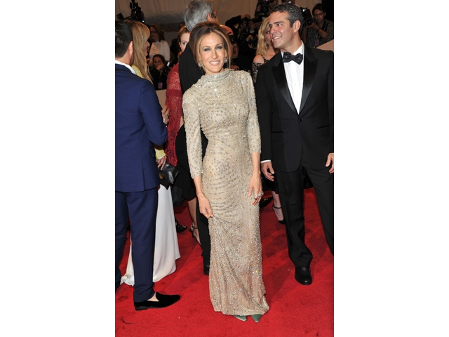 Sarah Jessica Parker wearing Alexander McQueen at the gala.