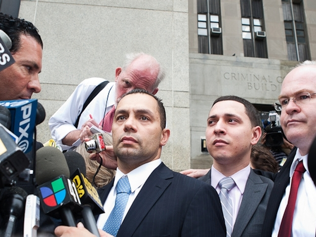 Kenneth Moreno (l.) and Franklin Mata (r.) address reporters outside Manhattan Supreme Court, May 26, 2011, after being acquitted of rape charges.