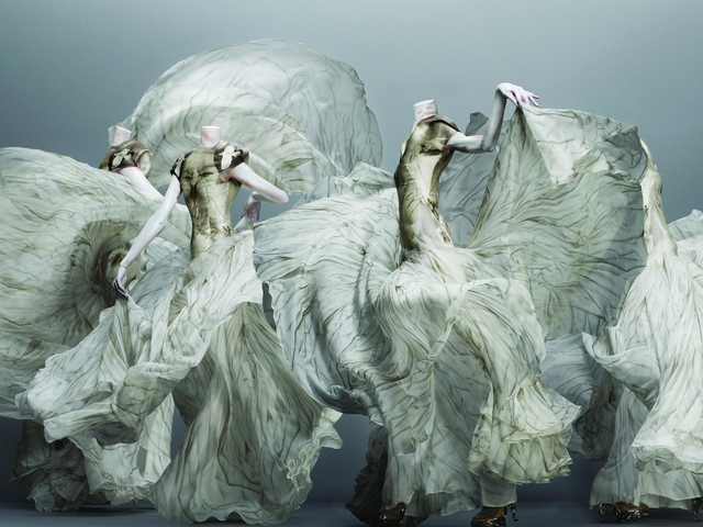 Alexander McQueen, Grey and White Chiffon.