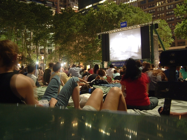 Movie-watchers check out a flick at Bryant Park.