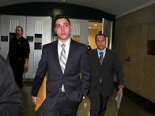 Police officers Franklin Mata (front) and Kenneth Moreno (back) were found not guilty of raping an East Village woman.
