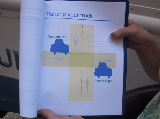 The book includes pages of advice for drivers, including the biggest challenge: how to find a spot