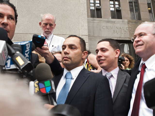 (L-R) Joseph Tacopina, Kenneth Moreno, Franklin Mata, and Edward Mandery address reporters outside Manhattan Supreme Court, May 26, 2011.