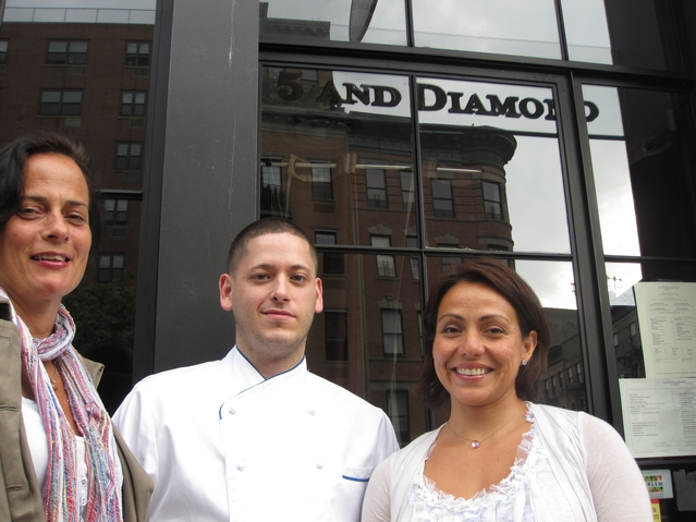 Restaurateurs stand outside 5 and Diamond in Harlem