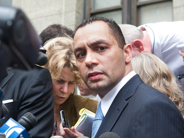 Kenneth Moreno looks at the camera as he addresses reporters outside Manhattan Supreme Court.
