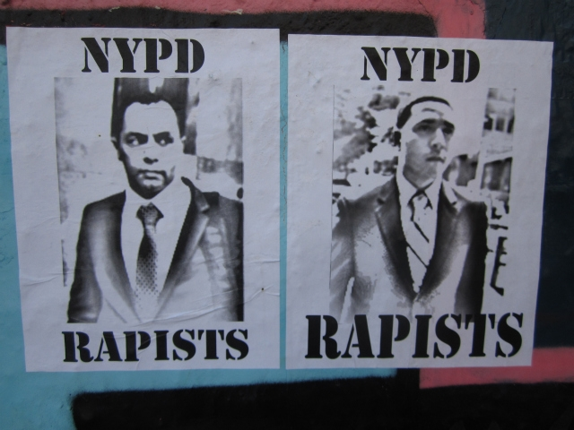 Flyers in the East Village show the faces of Kenneth Moreno, right, and Franklin Mata, who were found not guilty of raping an East Village woman.