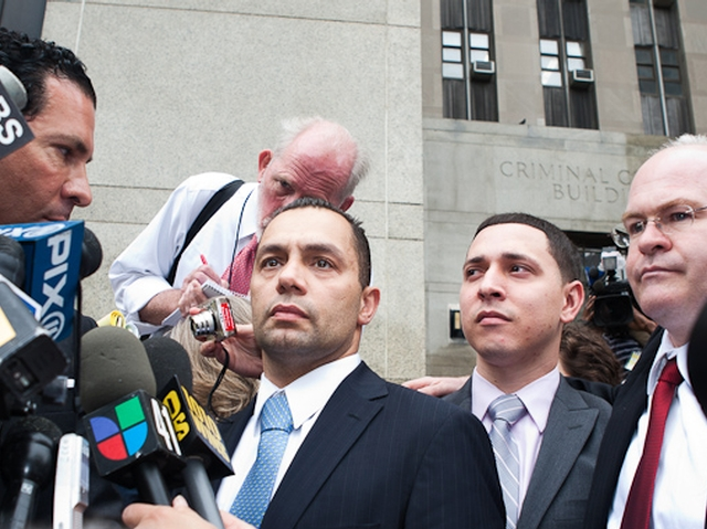 Kenneth Moreno (L) and Franklin Mata (R) address reporters outside Manhattan Supreme Court, May 26, 2011.