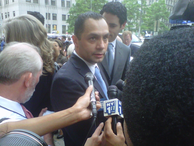 Kenneth Moreno, 43, speaks to reporters outside Manhattan Supreme Court after a jury acquitted him on rape charges.