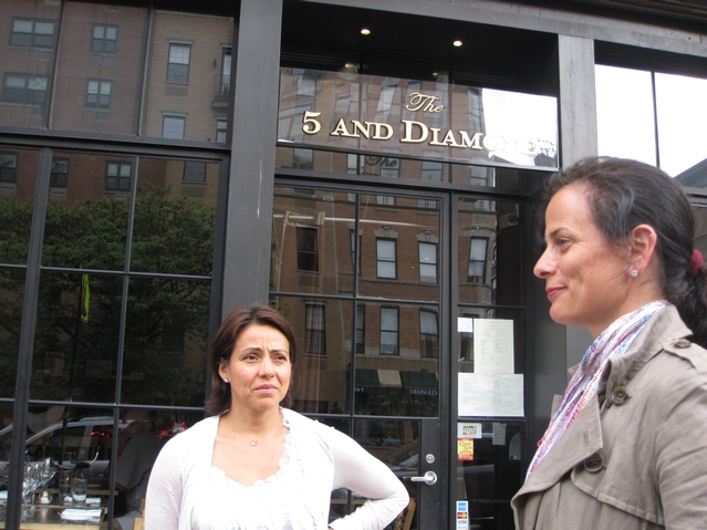 5 and Diamond co-owners Selene Martinez and Lia Sanfilippo outside their restaurant on Frederick Douglass Boulevard and West 112th Street.
