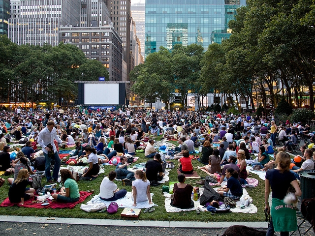 A crowd gathers to catch a movie at Brant Park.