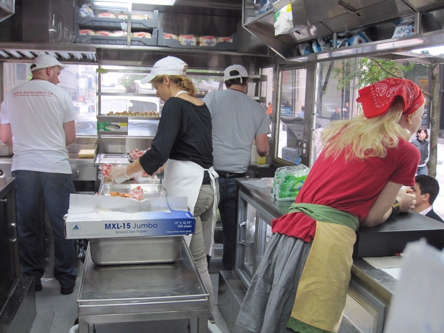 Inside the new lobster truck.