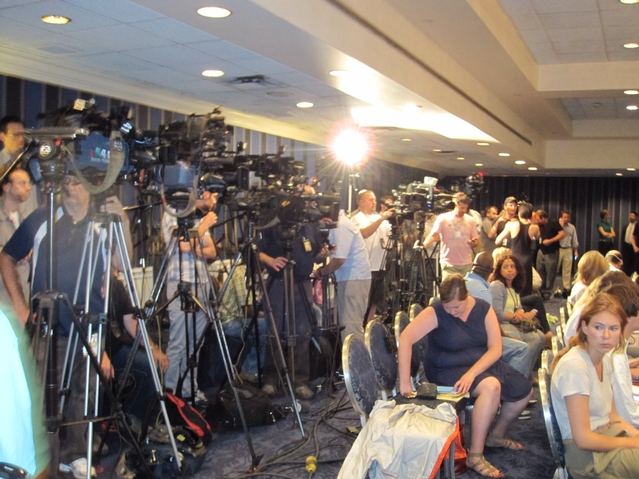 More than 20 cameras stood by to capture Weiner's admission.