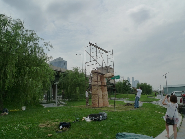 Eight public sculptures are being installed in Riverside Park South this week.