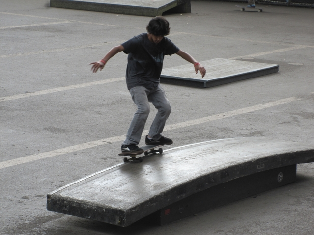 The skate park is located off Monroe Street under the Manhattan Bridge.