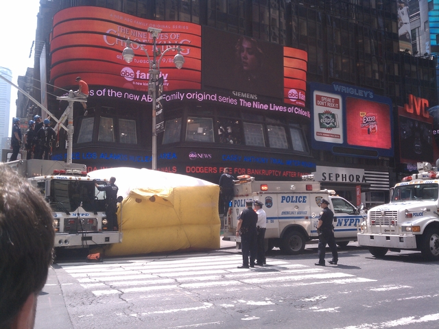 A man on a traffic light pole shut down Times Square on Tuesday.