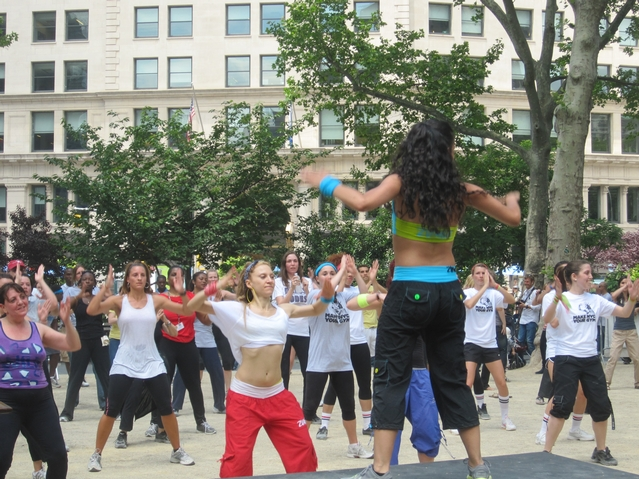 The Zumba flash mob in Madison Square Park on Monday.