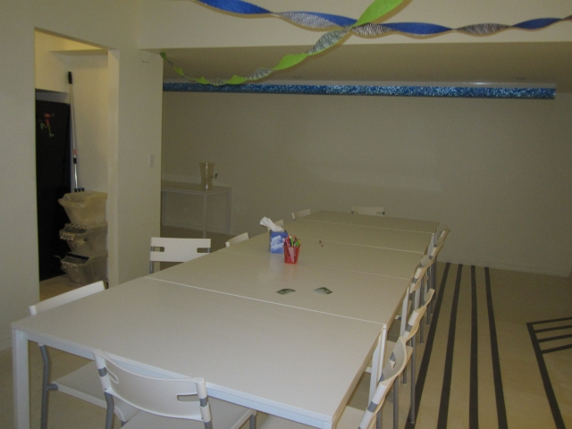 The party room will also host classes on cooking and nutrition.