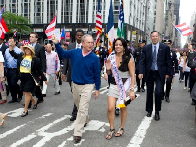 Mayor Bloomberg marches in the parade.