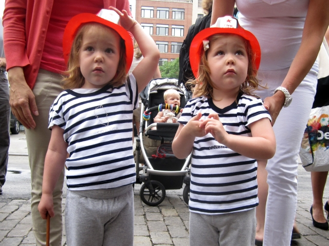Isabelle, left, and Chloe love walking past the Hook & Ladder 8 firehouse, their mother Erica Martini said.