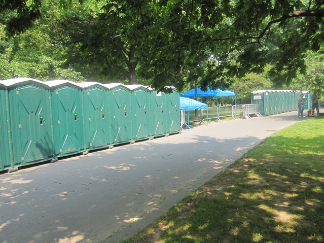 Portable bathrooms for Thursday's Black Eyed Peas show.