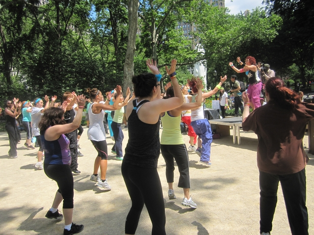Zumba in Madison Square Park for Make NYC Your Gym week.