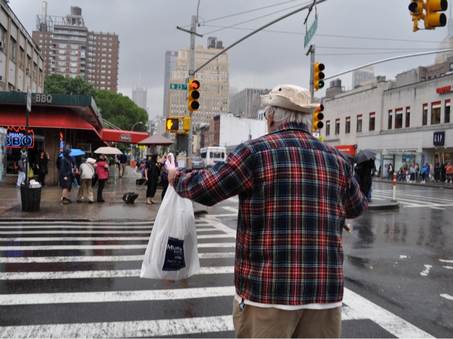 Rauch, 84, crossed 26th Street with his parrot Eddie.