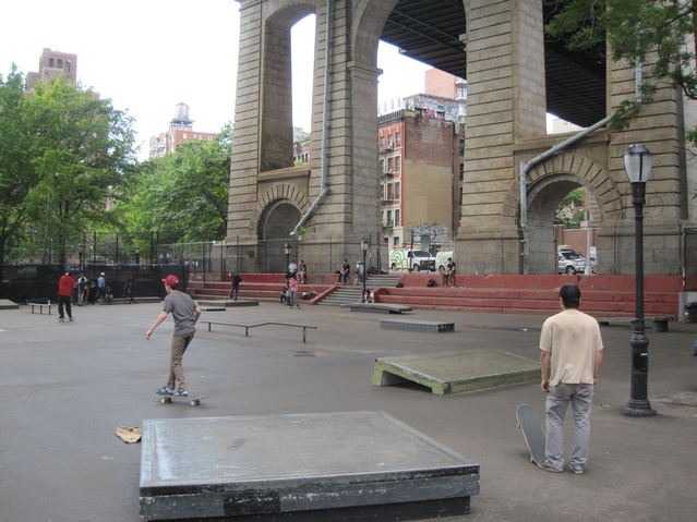 The entrance to the skate park on Monroe Street under the Manhattan Bridge.