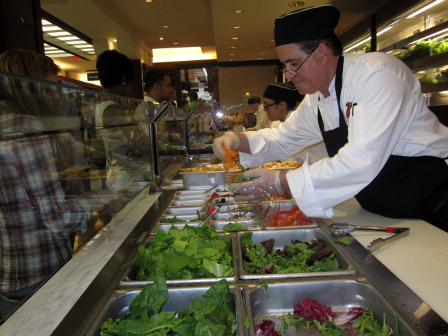 Milk Street Cafe has two salad bars, one that is vegetarian and one that has meat.