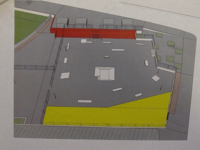 A rendering of the current skate park, with the area colored yellow representing a dog run that the park could expand into under a renovation plan.