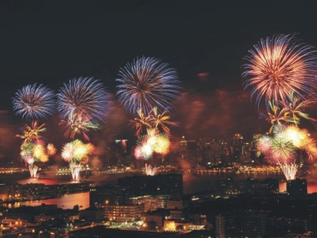 The fireworks will explode over the Hudson River.