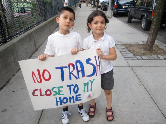 Ethan Braunstein, 7, and his sister Samantha, 5, attended Wednesday's rally against the East 91st Street waste transfer station.