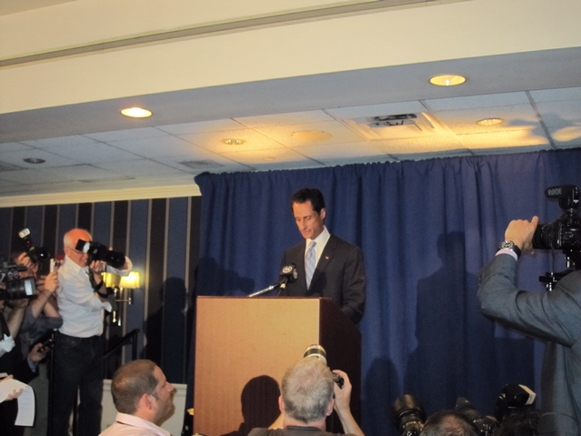 Rep. Anthony Weiner at the press conference he called to admit he'd sent lewd photos of himself to numerous young women.