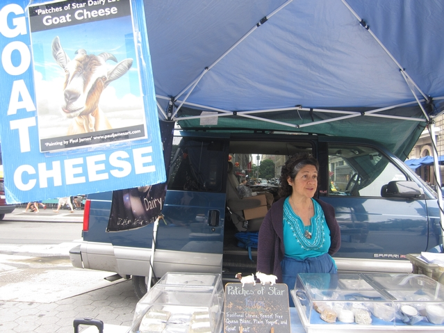 Ellie at Patches of Star Dairy, at the Union Square greemmarket, already packaged her cheese but still criticized the rule.