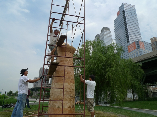 Eight public sculptures are being installed in Riverside Park South as part of a partnership with the Art Students League Model To Monument program.