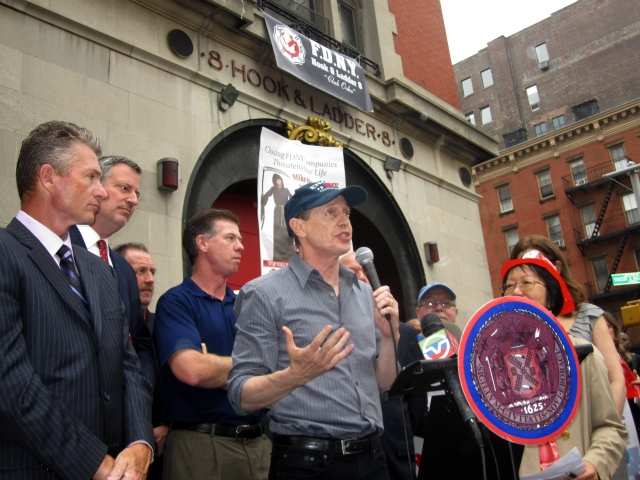 Actor Steve Buscemi, who previously worked as a firefighter, urged the crowd to take action immediately.