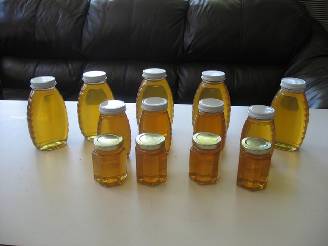 Some of the honey Miodownik's bees have produced from his backyard in Queens.