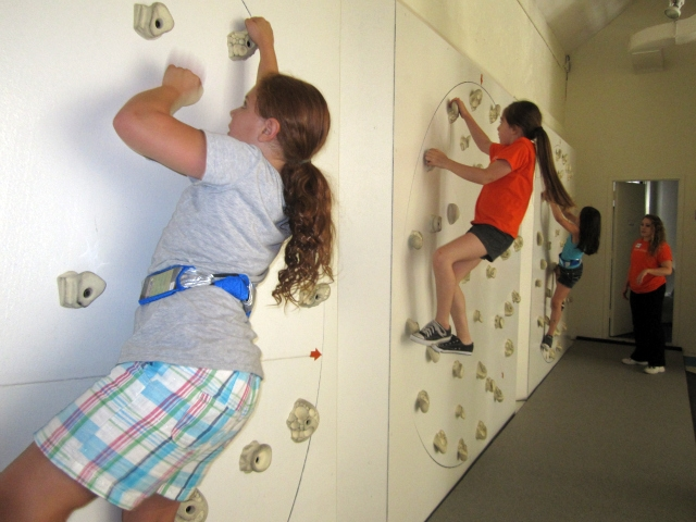The rotating climbing walls are one of the most challenging activities.