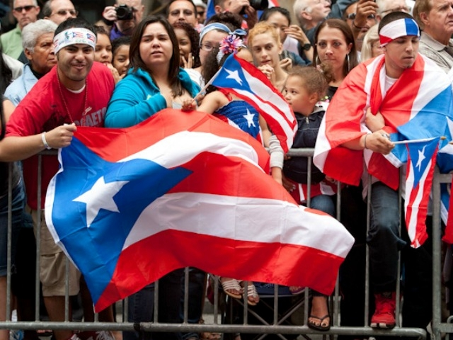 The Puerto Rican flag waves.