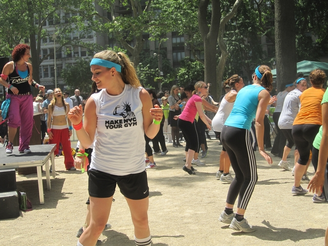 Zumba in Madison Square Park on Monday to promote Make NYC Your Gym week.