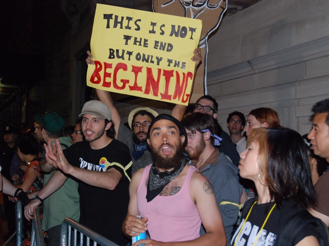 Protesters continued to demonstrate into the night.