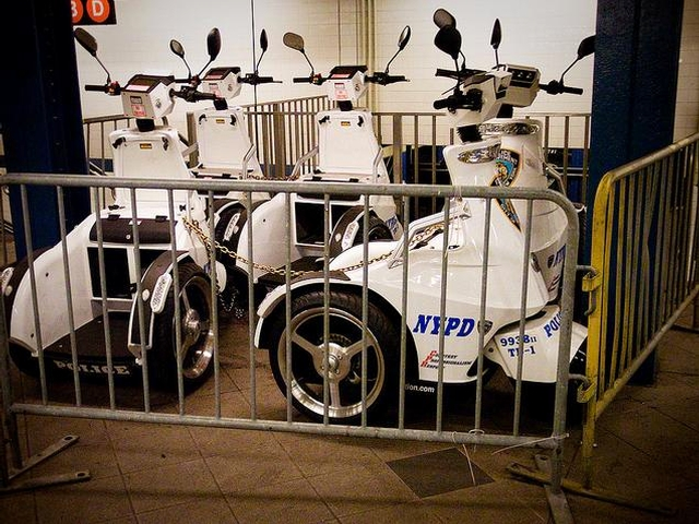 NYPD Segway scooters at the Columbus Circle subway station.