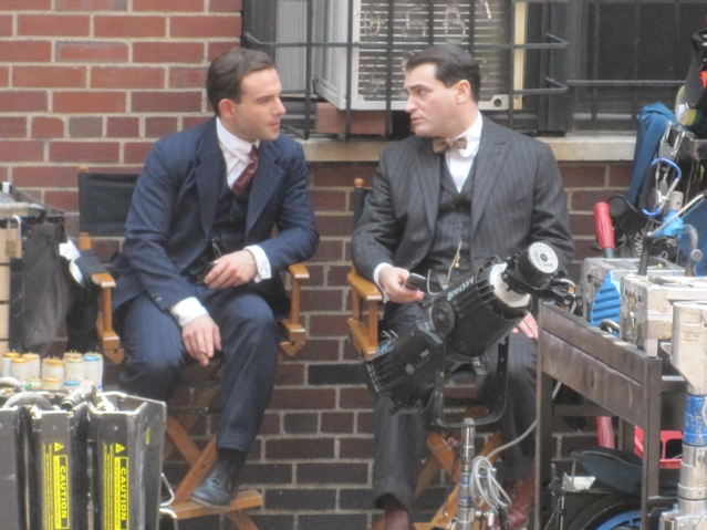 Michael Stuhlbarg (r.), who portrays mob kingpin Arnold Rothstein in the series, chatted with co-star Anatol Yusef, who plays Meyer Lansky, in between takes.