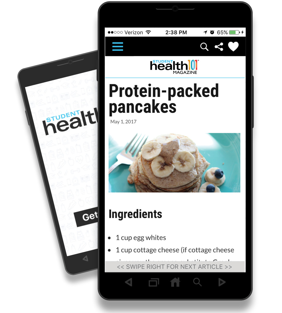 Student Health 101 Mobile App on an Android Phone