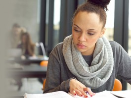 Female student taking a test