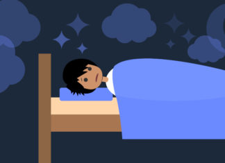 Illustration of a student in bed